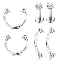 Jstyle 3Pairs Stainless Steel Nose Ring Hoop CZ Nose Piercing Helix Eyebrow Tragus Cartilage Earrings Body Piercing Studs Jewelry