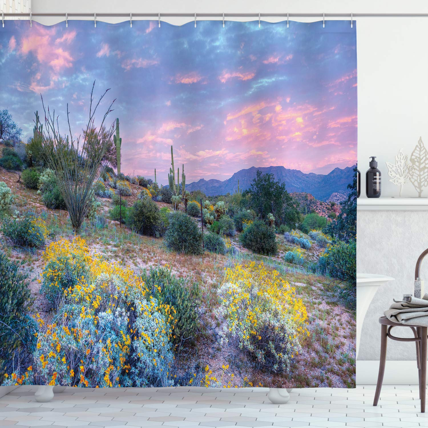 """Ambesonne Cactus Shower Curtain, Sunset in a Mountain with Sun Beams Clouds Bushes and Colored Flowers Photo Print, Cloth Fabric Bathroom Decor Set with Hooks, 84"""" Long Extra, Green Mauve"""