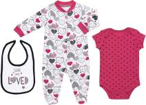 Mini B. by Baby Starters 3-Piece Layette Set with Sleep and Play, Bodysuit and Cloth Bib (Pink and Black/Little Love Heart, 6-9M)
