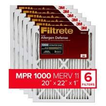 Filtrete 20x22x1, AC Furnace Air Filter, MPR 1000, Micro Allergen Defense, 6-Pack