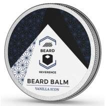 Vanilla Beard Balm enhanced with Organic Tea Tree & Argan & Jojoba Oils – All Natural Vanilla Scent Beard Butter – Leave-in Conditioner to Shape, Style, Soften & Condition Beards and Mustaches