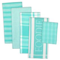 """DII Assorted Decorative Kitchen Dish Towels & Dish Cloth Foodie Set, Ultra Absorbent for Washing and Drying (Towels 18x28"""" & Cloths 13x13"""") Aqua, Set of 5"""