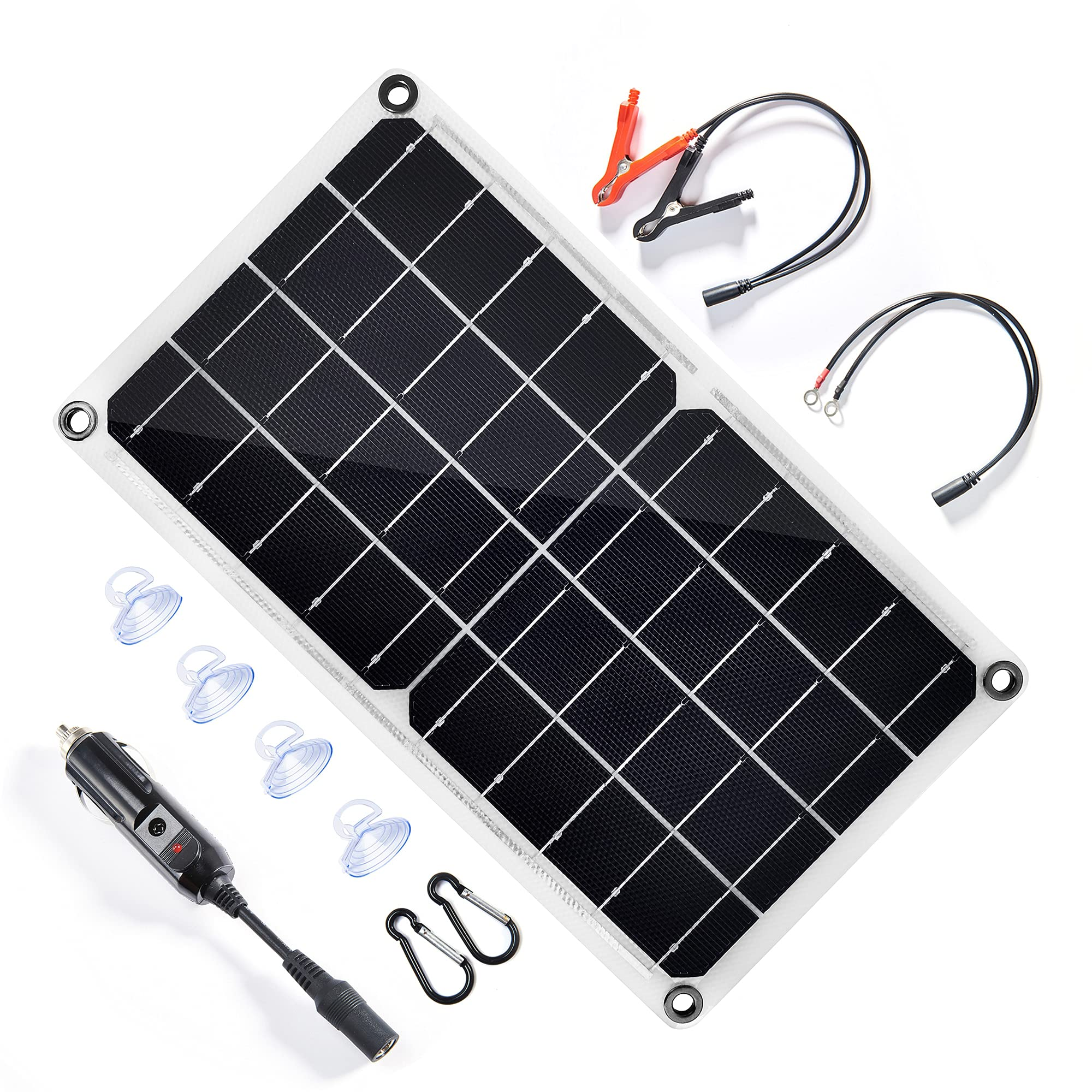 TP-solar10 Watt 12 Volt Solar Panel Battery Charger 10W 12V Portable Solar Trickle Battery Maintainer with Cigarette Lighter Plug & Alligator Clip for Car Boat