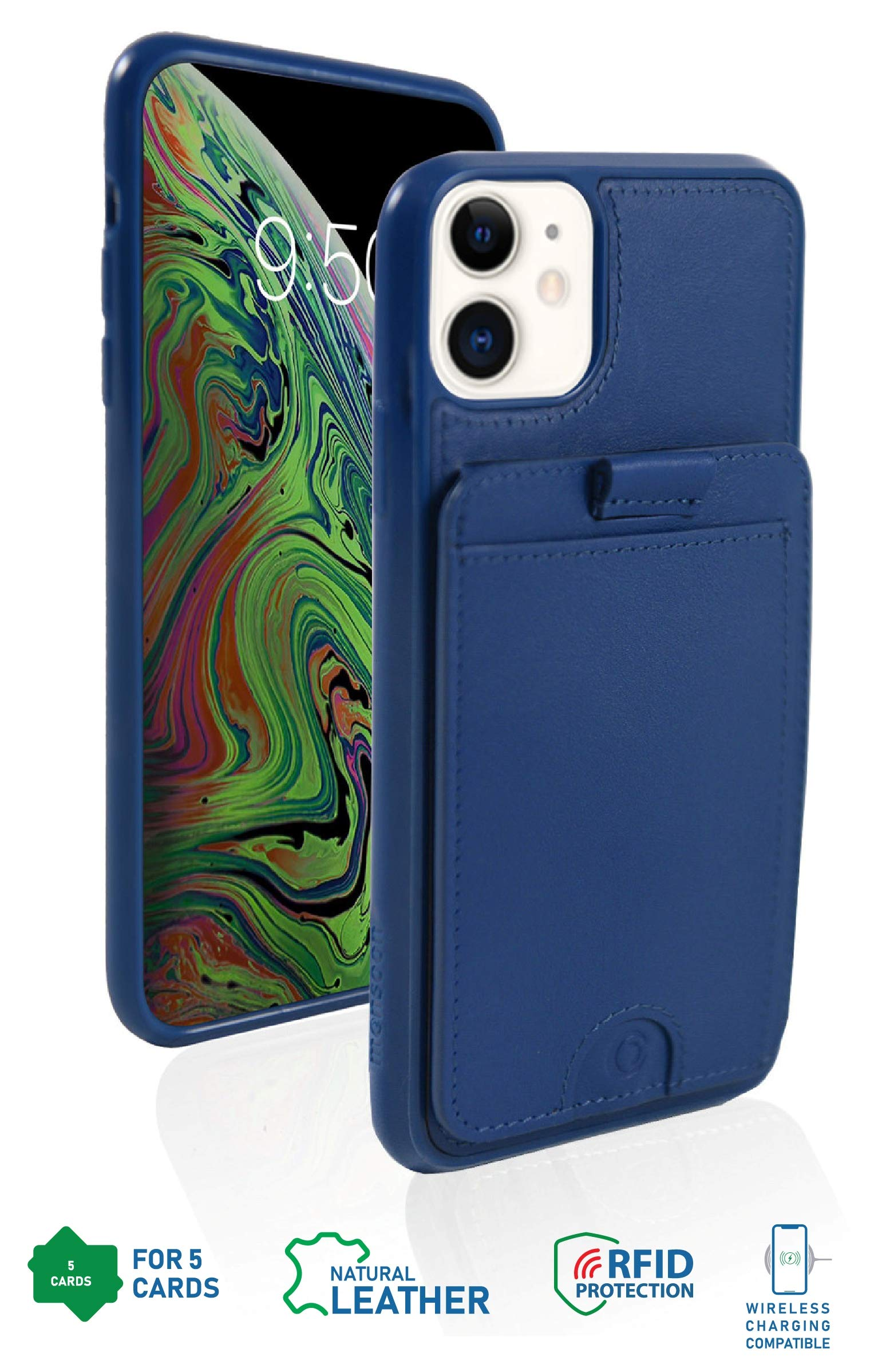 monsoon [Cruiser] Genuine Leather Wallet Case with Removable Slim Wallet for iPhone 11 - Holds 5 Cards   RFID   Stand   Wireless Charging OR Magnetic Car Mount Compatible - Blue