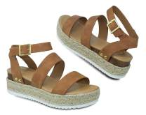 MVE Shoes ~ Bryce Womens Stylish Comfortable Platform Strappy Espadrille Flatforms