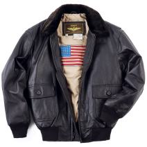 Landing Leathers Men's Navy G-1 Leather Flight Bomber Jacket (Regular and Big & Tall)