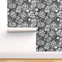 Spoonflower Peel and Stick Removable Wallpaper, Sugar Skull Mexican Calavares Coloring Halloween Print, Self-Adhesive Wallpaper 24in x 36in Roll