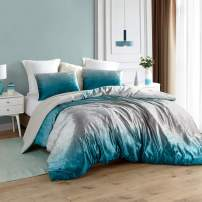 Byourbed Coma Inducer Oversized Twin XL Comforter - Ombre Velvet Crush - Ocean Depths Teal/Silver Gray