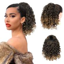 PEACOCO Curly Ponytail Extension Drawstring Ponytails for Black Women Synthetic Curly Drawstring Ponytail with 2 Clips on Ponytails for Women (T1B/27)