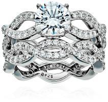 J'ADMIRE 2.75 ct Swarovski Zirconia Round-Cut Infinity Band Ring Set, Platinum-Plated Sterling Silver