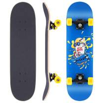 """WeSkate Skateboards for Beginners, 31""""x8"""" Complete Skateboard for Kids Teens & Adults, ABEC-11 Bearing 7 Layer Canadian Maple Double Kick Deck Concave Trick Skateboard"""