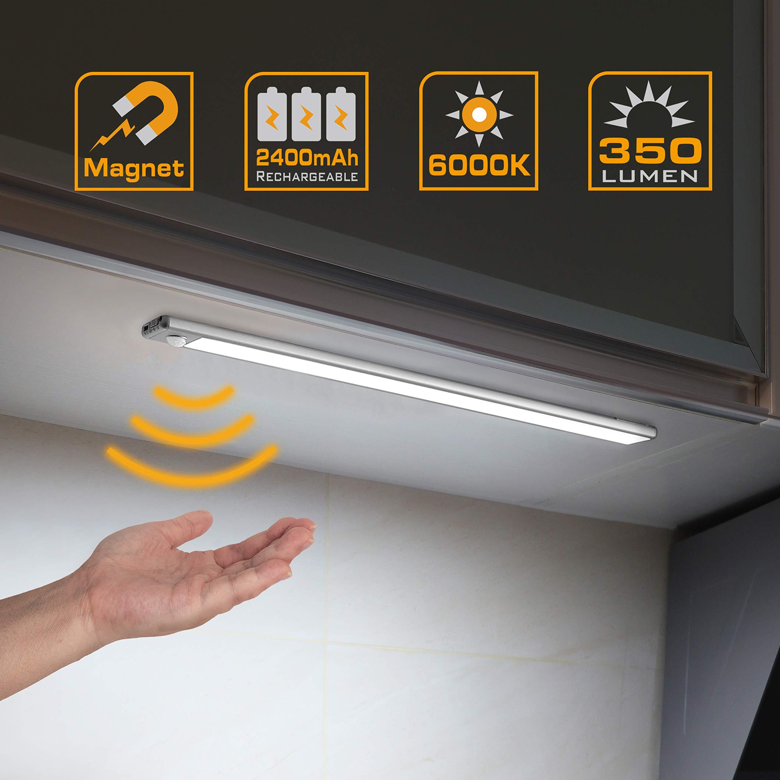 EverBrite Under Cabinet Lighting, 70 LED Under Counter Lighting, Wireless Motion Sensor Light, Ultra Thin LED Light Bar for Closet, Cabinet and Hallway, 350 Lumen, 6000K