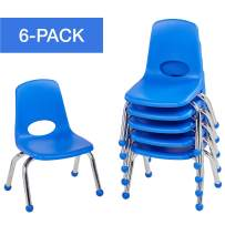 """Factory Direct Partners 10355-BL 10"""" School Stack Chair,Stacking Student Chairs with Chromed Steel Legs and Ball Glides - Blue (6-Pack)"""