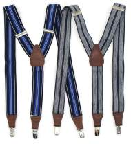 """2 PC Mens Stripe Suspenders for business & Dress,1.5"""" Y-Back Vintage-Style 3 Clip-On Elastic Braces for Pants Skirts Shorts"""
