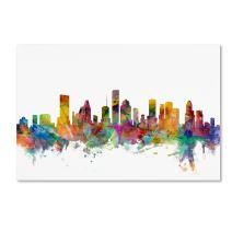 Houston Texas Skyline by Michael Tompsett, 12x19-Inch Canvas Wall Art