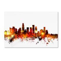 Los Angeles California Skyline III by Michael Tompsett, 12x19-Inch Canvas Wall Art