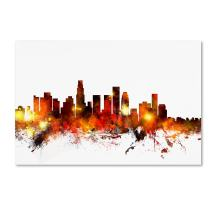 Los Angeles California Skyline III by Michael Tompsett, 12x19-Inch Canvas Wall Art