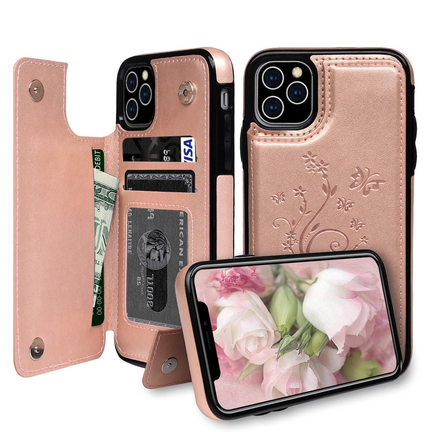 iPhone 11 Pro Max Case Wallet with Card Slots, Badalink Back Flip Case Magnetic Snap, Luxury Embossed Leather Protective Cover for iPhone 11 Pro Max 2019 6.5inch - Rose Gold
