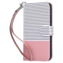 ULAK iPhone 11 Wallet Case, iPhone 11 Case with Card Holder, Flip PU Leather Cover with Kickstand TPU Shockproof Protective Case for iPhone 11 6.1 Inch, Pink Stripes