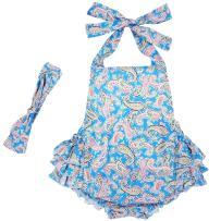 DQdq Baby Girls' Floral Print Ruffles Romper Summer Dress Blue Cashew Nut 24 Month