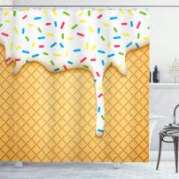 "Ambesonne Food Shower Curtain, Cartoon Like Image of and Melting Ice Cream Cones Colored Sprinkles Print, Cloth Fabric Bathroom Decor Set with Hooks, 70"" Long, Yellow White"