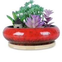ARTKETTY 7.3 inch Round Succulent Planter Pots with Drainage Hole Bonsai Pots Garden Decorative Cactus Stand Ceramic Glazed Flower Container Red, with Bamboo Tray