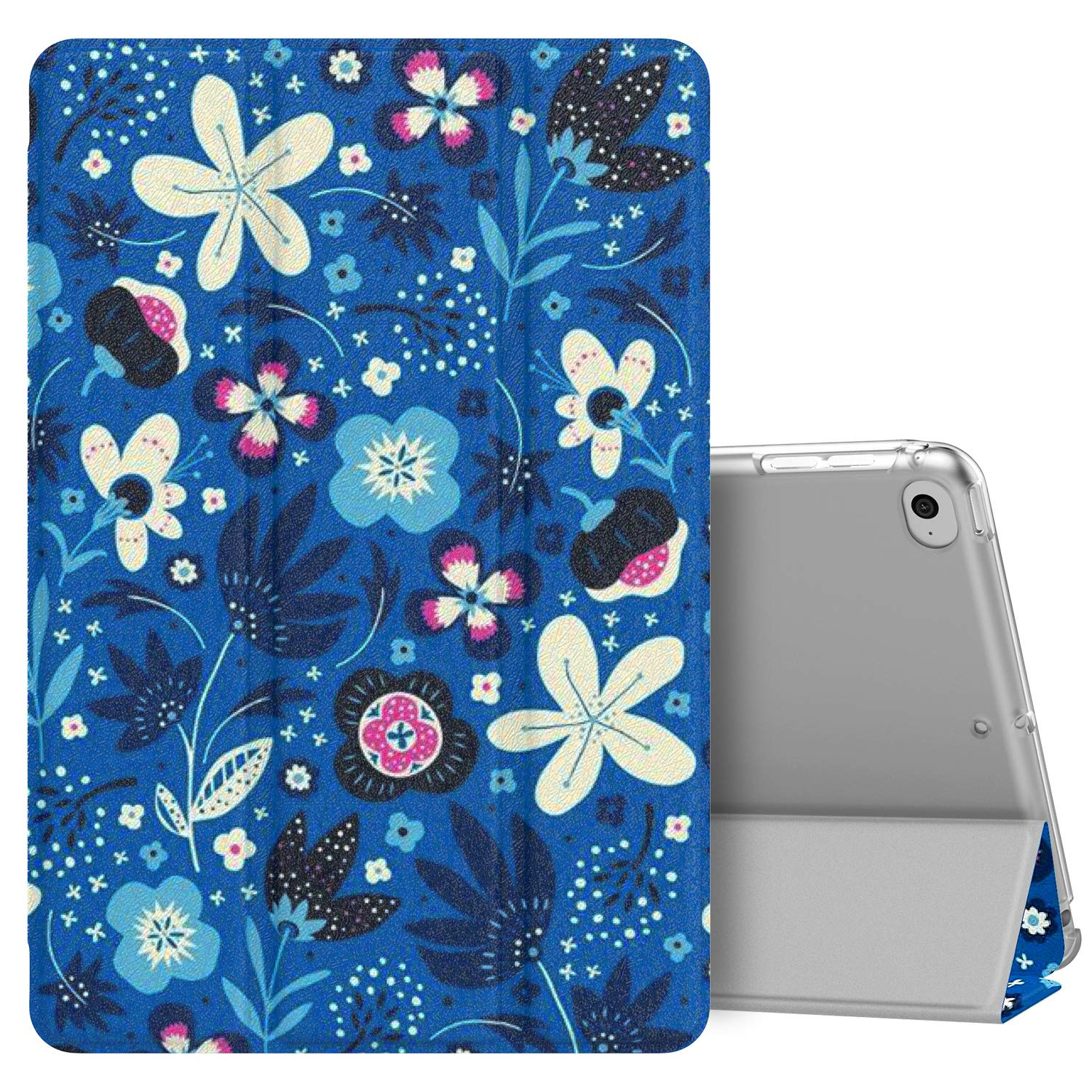 MoKo Case Fit New iPad Mini 5 2019 (5th Generation 7.9 inch), Slim Lightweight Smart Shell Stand Cover with Translucent Frosted Back Protector, with Auto Wake/Sleep - Blue Flowers
