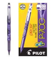 PILOT Precise P-700 Gel Ink Rolling Ball Stick Pens, Marbled Barrel, Fine Point, Purple Ink, 12 Count (38621)