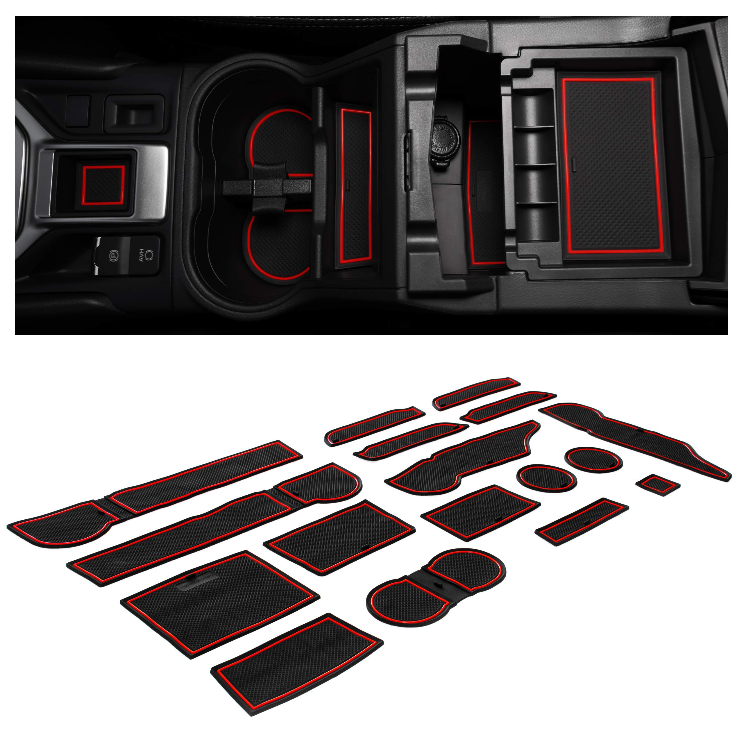 CupHolderHero for Subaru Forester Accessories 2019-2021 Premium Custom Interior Non-Slip Anti Dust Cup Holder Inserts, Center Console Liner Mats, Door Pocket Liners 17-pc Set (Red Trim)