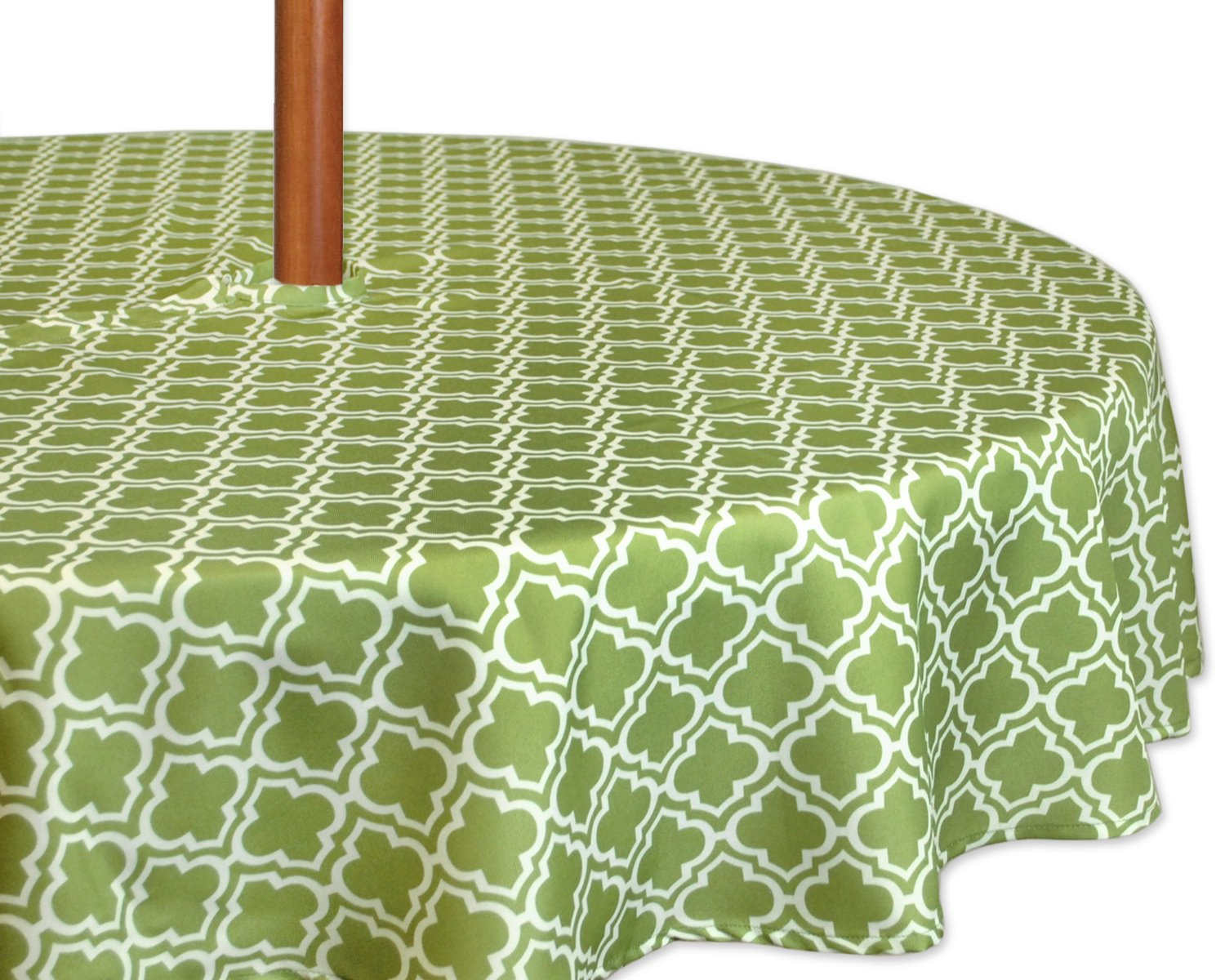 """DII 100% Polyester, Spill Proof, Machine Washable, Zipper Tablecloth for Outdoor Use with Umbrella Covered Tables, 52"""" Round, Fresh Spring Lattice, Seats 4 People, w, Green"""