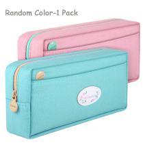 SAMAZ Students Super Large Capacity Canvas Pencil Case Pen Bag Pouch Stationary Case Makeup Cosmetic Bag (Random Color-1 Pack)