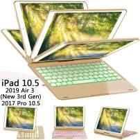 ILEBYGO iPad Pro 10.5 Keyboard Case with Pencil Holder for iPad Pro 10.5 inch 2017/iPad Air 10.5(3rd Gen) 2019, 360 Rotatable Wireless Bluetooth Backlit/Auto Sleep-Wake/Ultra-Thin Keyboard(Golden)
