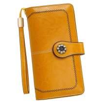 RFID Blocking Women Clutch Wallet Genuine Leather Long Wristlet Wallet Ladies Purse Credit Card Holder Coin Money Organizer Yellow