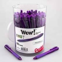 Pentel WOW! Ballpoint Pen, (1.0mm) Med. line, Violet Ink, 60-pk Canister (BK440PC60V)