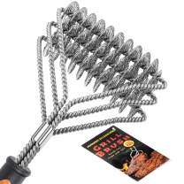 """Homuser Grill Brush Bristle Free - Safe BBQ Cleaning Barbecue Brush 18"""" Best Stainless Steel Grilling Accessories Cleaner for Weber Gas/Charcoal Porcelain/Ceramic/Iron/Steel Grates"""
