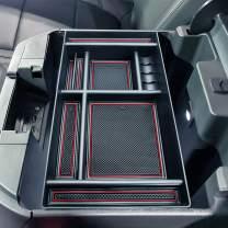 JKCOVER Center Console Organizer Tray Compatible with (2019-2021) Chevy Silverado 1500/GMC Sierra 1500, 2020-2021 Silverado/Sierra 2500/3500 HD Accessories - Full Console w/Bucket Seats ONLY(RED trim)