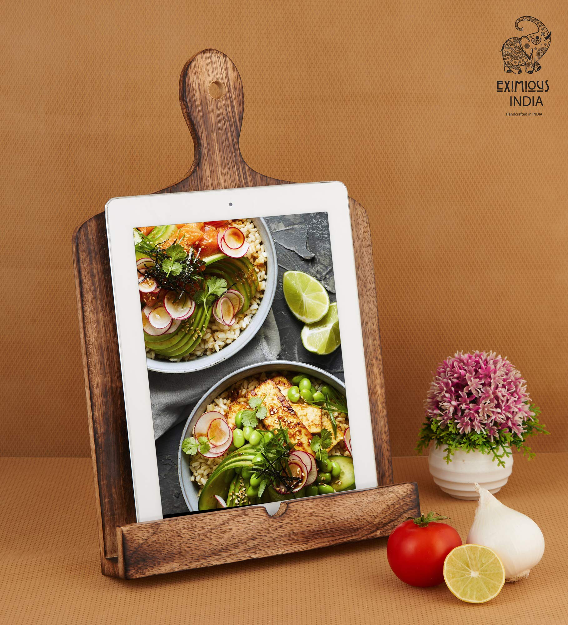 Eximious India Wooden Cookbook Stand Foldable Recipe Holder Text Book Ipad Tablet Made of Natural Wood Eco Friendly