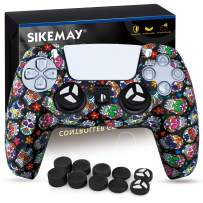 SIKEMAY Silicone Printing Cover Skin for PS5 Dualsense Controller Grip, Protective Case for Playstation 5 Accessories with 10 Thumb Grip Caps(Pattern Skull)