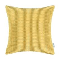 CaliTime Cozy Throw Pillow Cover Case for Couch Sofa Bed Comfortable Supersoft Corduroy Corn Striped Both Sides 26 X 26 Inches Gold Yellow