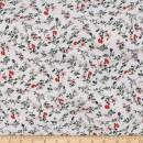 Telio Organic Stretch Cotton Jersey Floral Ecru Fabric, Red, Fabric By The Yard