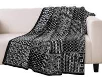 """PHF Knit Throw Blanket for Travel Picnic Beach Soft Chunky Cozy Fringed Warm Acrylic Texture Geometric Squares Decorative, 50"""" x 60"""""""