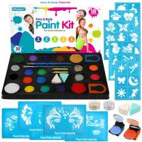 Face Paint Kit for Kids, 18 Large Water Based Paints, 4 Large Stencils, 36 Small Stencils, Professtional Non-Toxic Face Painting Makeup Kits for Halloween or Birthday Party, Safe to Sensitive Skin