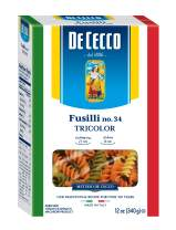De Cecco Tri-Color Pasta, Fusilli No.34, 12 Ounce (Pack of 12)