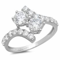 Clara Pucci 2.08 CT Round Cut CZ 2-Stone Curved Modern Designer Ring Band Solid 14k White Gold
