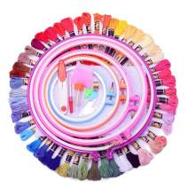KINGSO Full Range of Embroidery Starter Kit Cross Stitch Tool Kit Including 5 Pcs Plastic Embroidery Hoop, 50 Color Threads, 2pcs 12 by 18 Inch 14Count Classic Reserve Aida and Tool kit