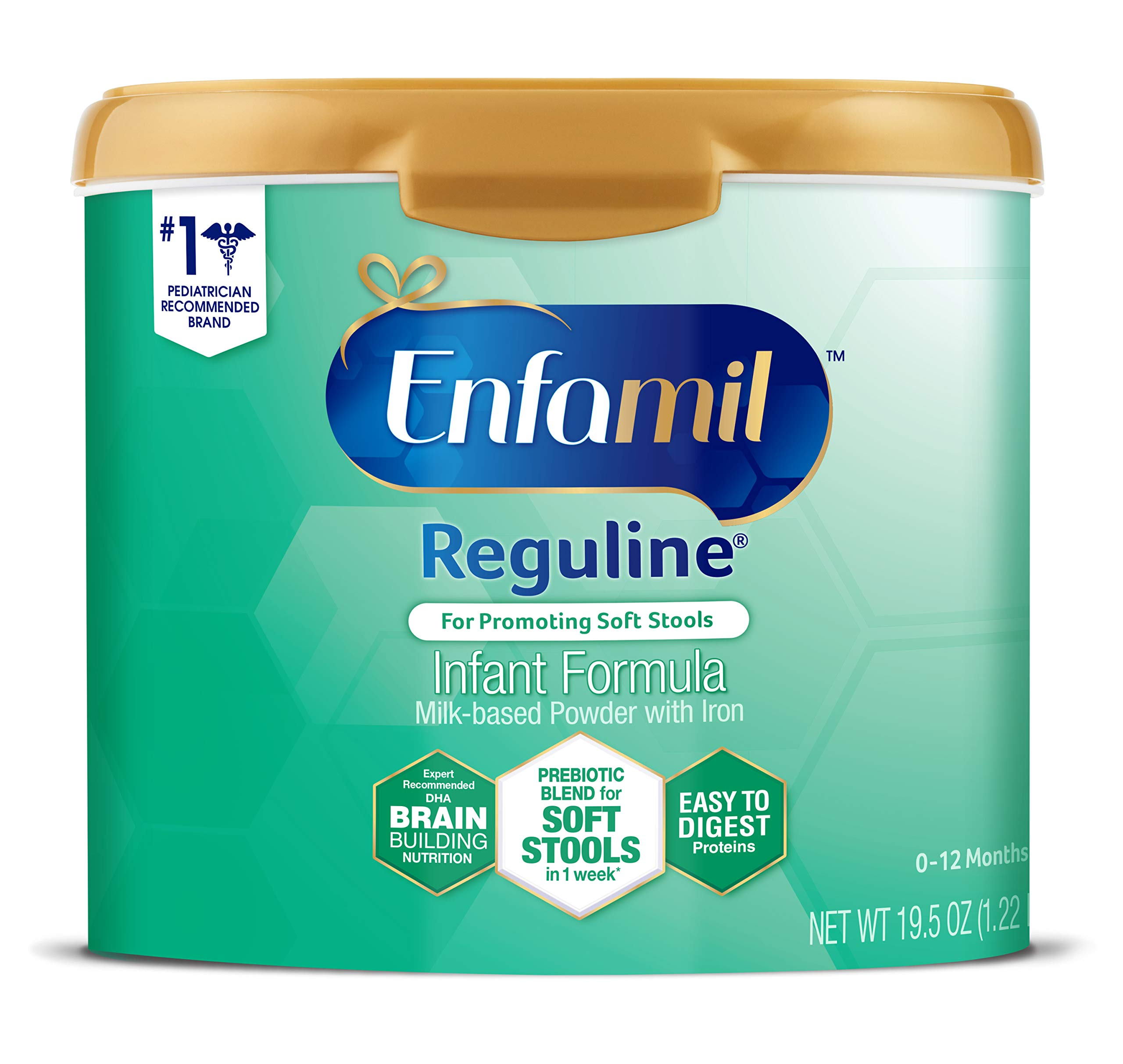 Enfamil Reguline Constipation Baby Formula Milk Powder to Promote Soft Stools, Omega 3, Probiotics, Iron, Immune Support, 19.5 Ounce (Packaging May Vary)