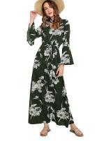 Milumia Women Halloween Choker V Neck Fit Flare Flounce Sleeves High Waist Maxi Party Dress