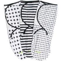 Swaddle Blanket Adjustable Infant Baby Wrap Set 3 Pack Soft Cotton Black & White