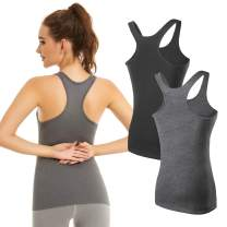 KMISUN Workout Tank Tops for Women Racerback Yoga Camisole Scoop Neck Trim Assorted Colors 1/2/3 Pack