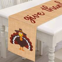 Mosoan Burlap Thanksgiving Table Runner - 13 x 72 Inches - Rustic Give Thanks Table Runner for Fall Thanksgiving Family Gathering Dinner Table Decorations